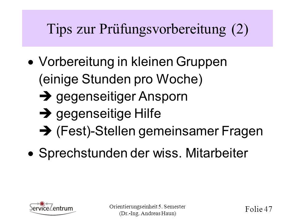 Tips zur Prüfungsvorbereitung (2)