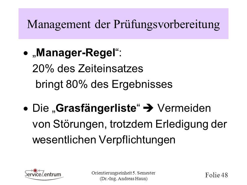 Management der Prüfungsvorbereitung