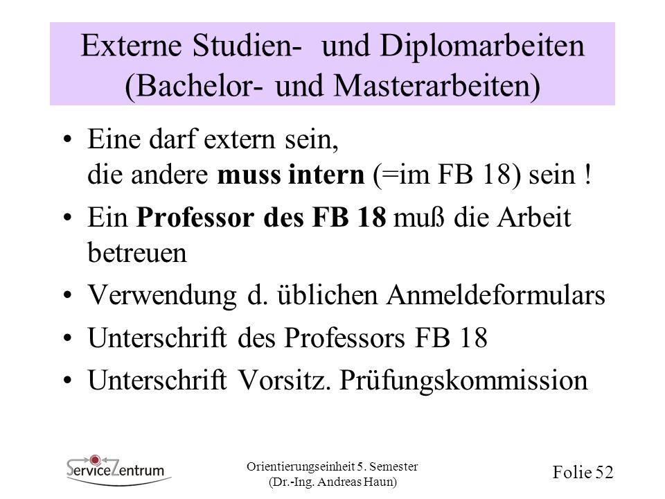 Externe Studien- und Diplomarbeiten (Bachelor- und Masterarbeiten)