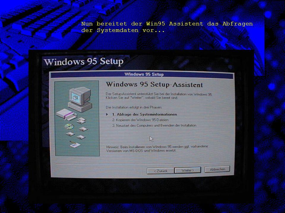 Nun bereitet der Win95 Assistent das Abfragen der Systemdaten vor...