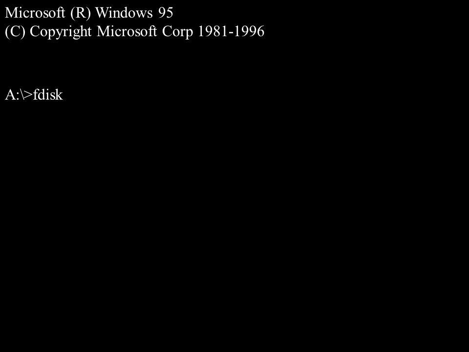 Microsoft (R) Windows 95 (C) Copyright Microsoft Corp 1981-1996 A:\>fdisk
