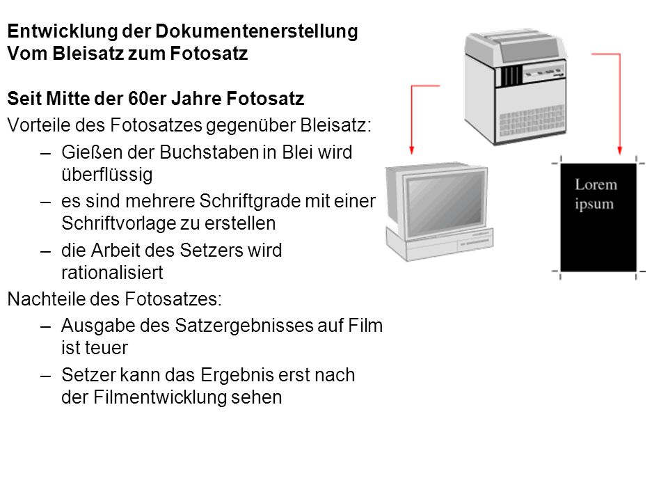 Entwicklung der Dokumentenerstellung Vom Bleisatz zum Fotosatz
