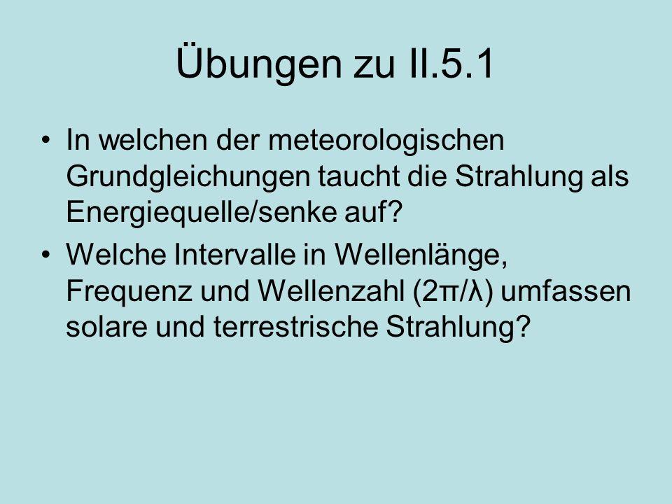 Übungen zu II.5.1 In welchen der meteorologischen Grundgleichungen taucht die Strahlung als Energiequelle/senke auf