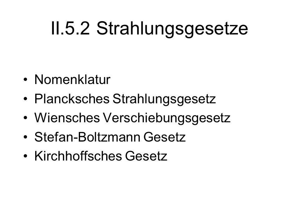 II.5.2 Strahlungsgesetze Nomenklatur Plancksches Strahlungsgesetz