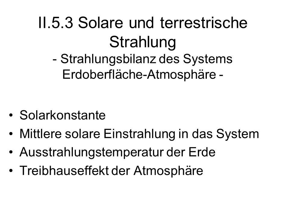 II.5.3 Solare und terrestrische Strahlung - Strahlungsbilanz des Systems Erdoberfläche-Atmosphäre -