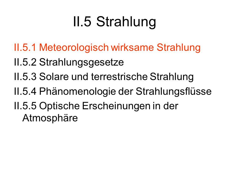 II.5 Strahlung II.5.1 Meteorologisch wirksame Strahlung