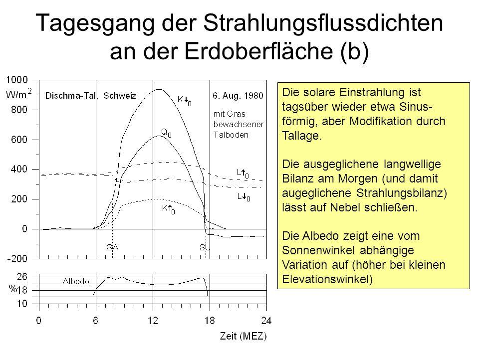 Tagesgang der Strahlungsflussdichten an der Erdoberfläche (b)