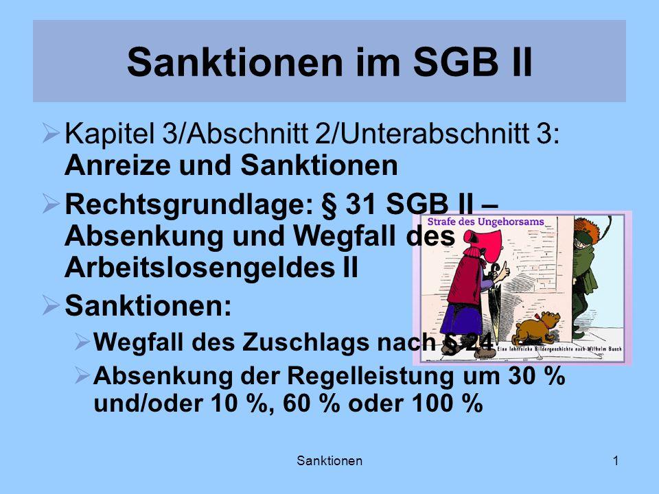 Sanktionen im SGB II Kapitel 3/Abschnitt 2/Unterabschnitt 3: Anreize und Sanktionen.