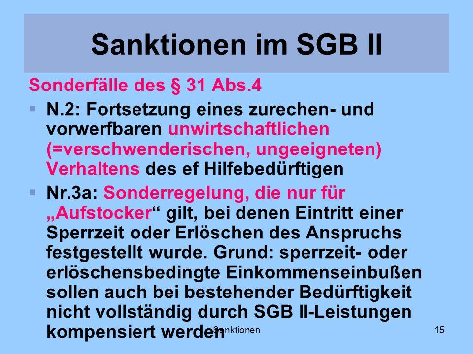 Sanktionen im SGB II Sonderfälle des § 31 Abs.4