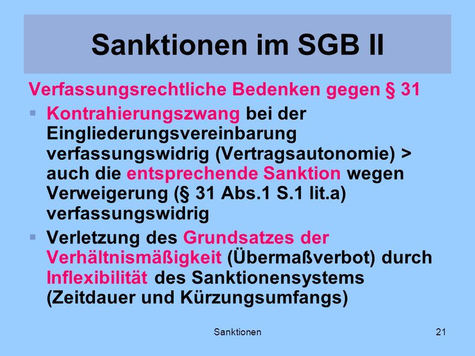 Sanktionen im SGB II Verfassungsrechtliche Bedenken gegen § 31