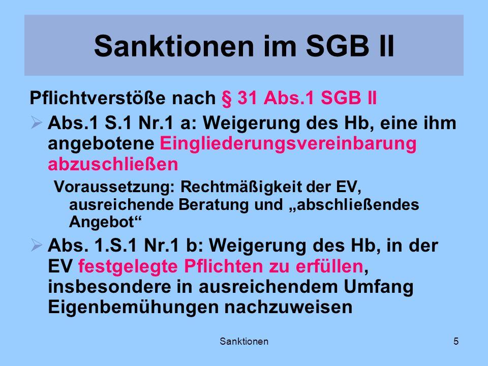 Sanktionen im SGB II Pflichtverstöße nach § 31 Abs.1 SGB II