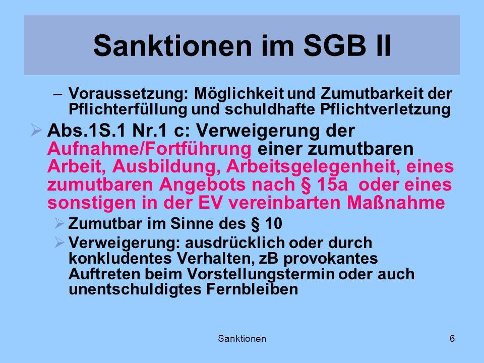 Sanktionen im SGB II Voraussetzung: Möglichkeit und Zumutbarkeit der Pflichterfüllung und schuldhafte Pflichtverletzung.