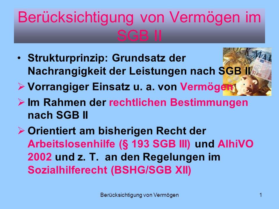 Berücksichtigung von Vermögen im SGB II
