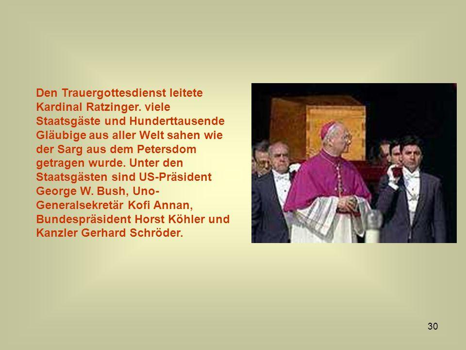 Den Trauergottesdienst leitete Kardinal Ratzinger