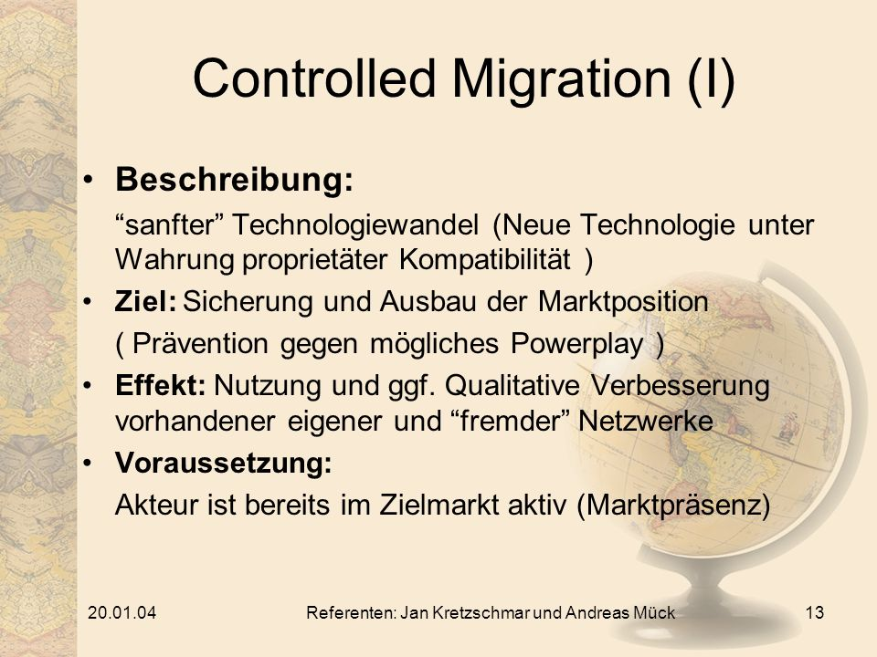 Controlled Migration (I)