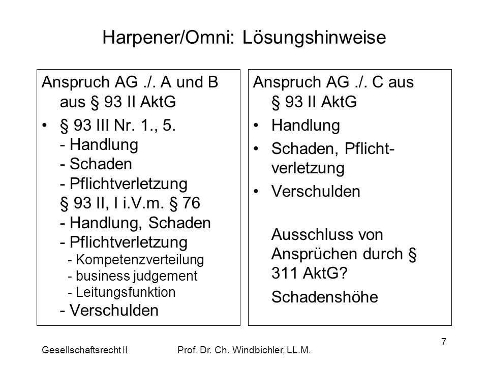 Harpener/Omni: Lösungshinweise