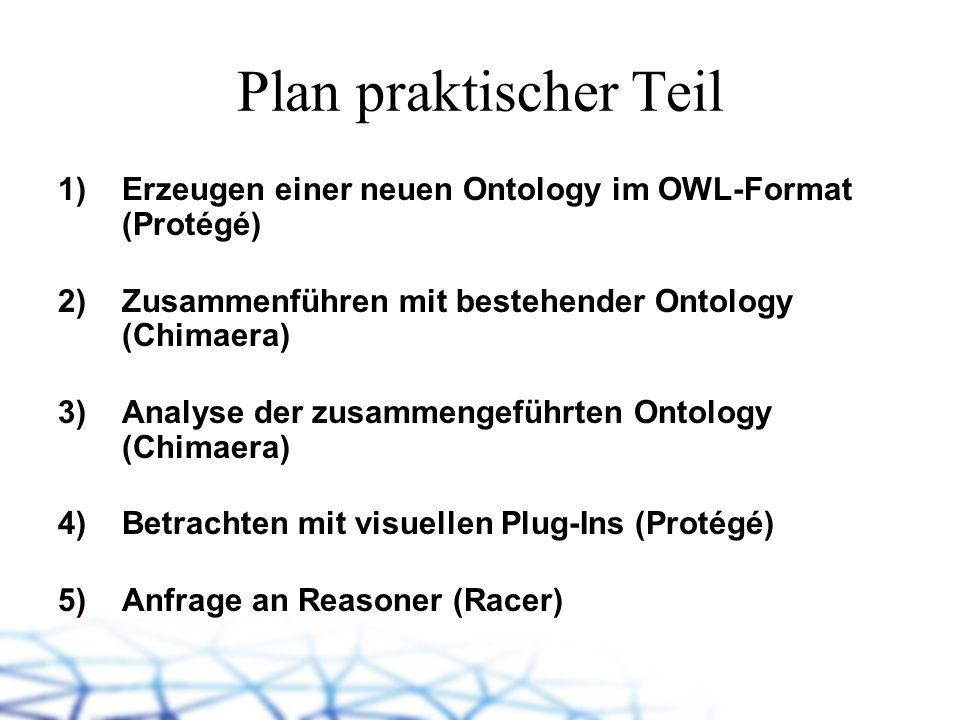 Plan praktischer TeilErzeugen einer neuen Ontology im OWL-Format (Protégé) Zusammenführen mit bestehender Ontology (Chimaera)