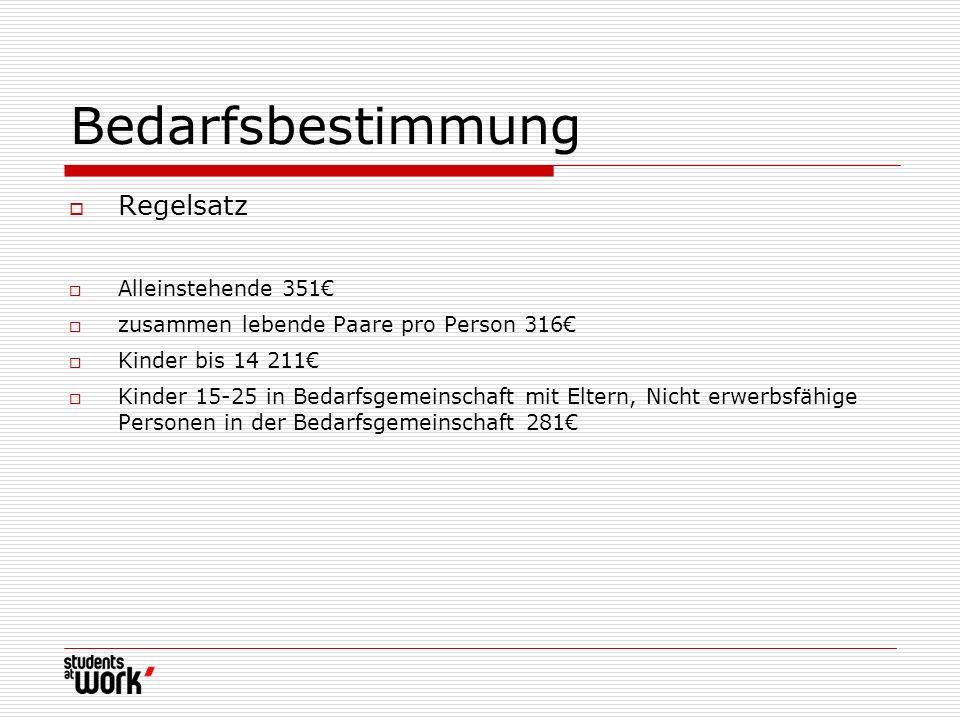 Bedarfsbestimmung Regelsatz Alleinstehende 351€