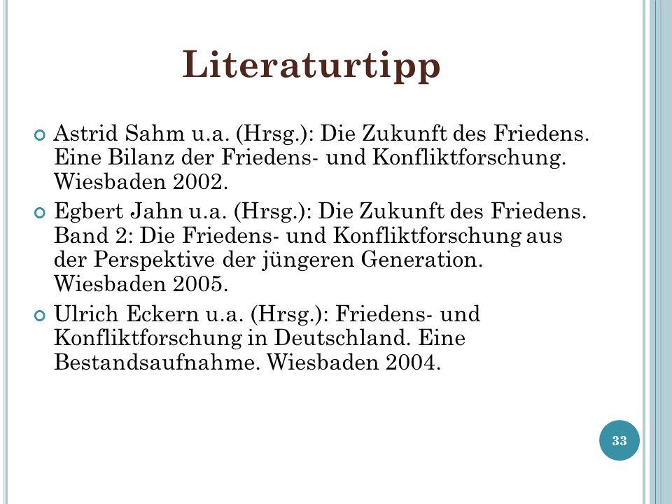 LiteraturtippAstrid Sahm u.a. (Hrsg.): Die Zukunft des Friedens. Eine Bilanz der Friedens- und Konfliktforschung. Wiesbaden 2002.