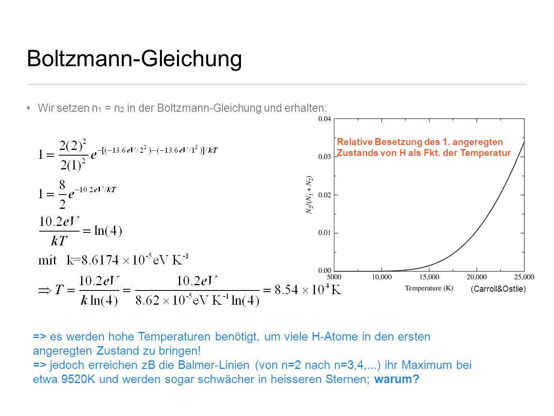 Boltzmann-Gleichung Wir setzen n1 = n2 in der Boltzmann-Gleichung und erhalten: Relative Besetzung des 1. angeregten.