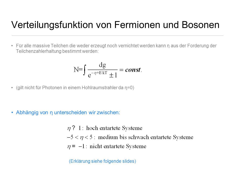 Verteilungsfunktion von Fermionen und Bosonen
