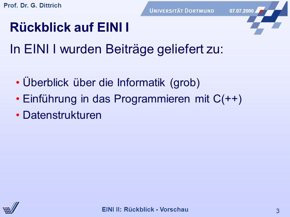 In EINI I wurden Beiträge geliefert zu: