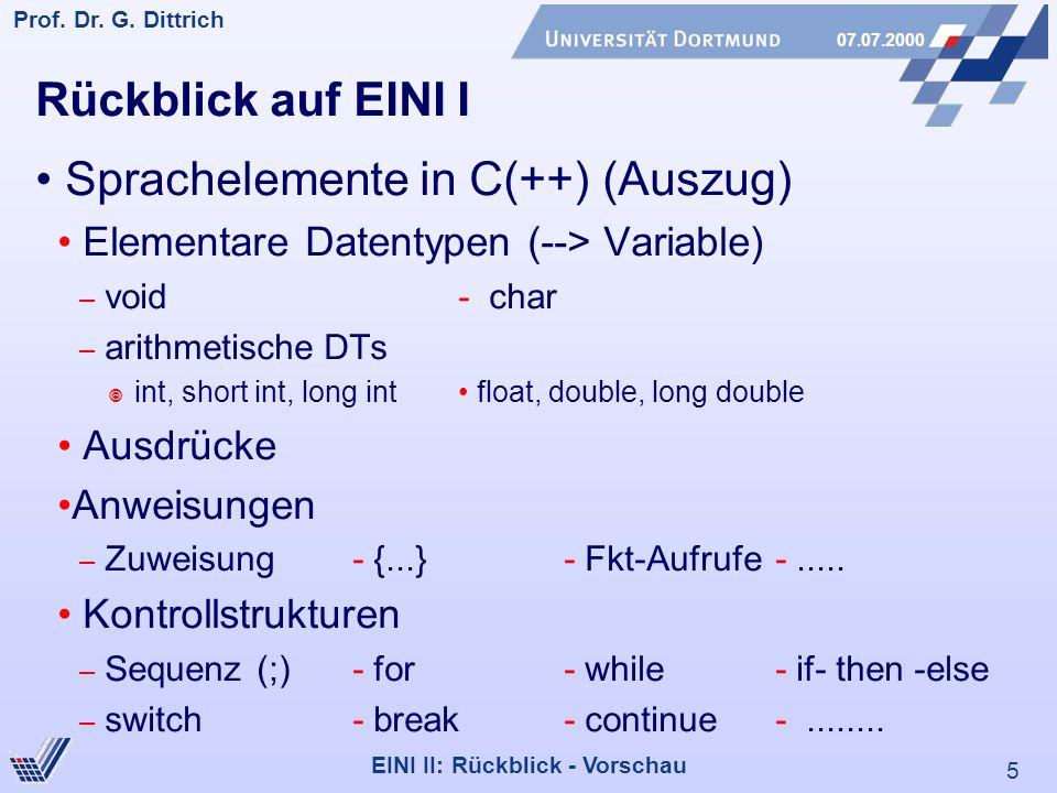 • Sprachelemente in C(++) (Auszug)