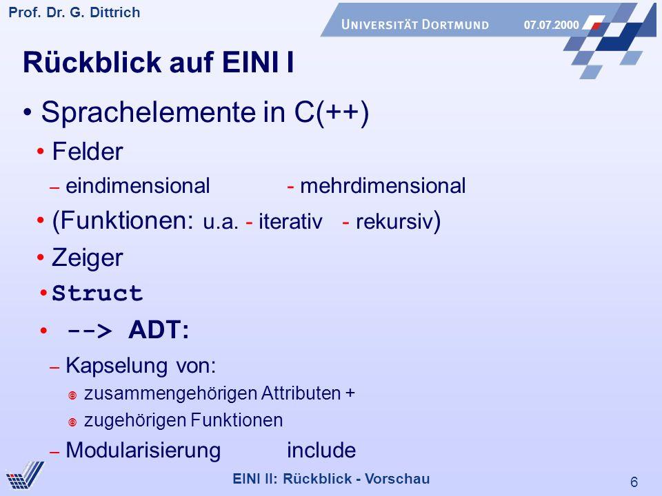 • Sprachelemente in C(++)