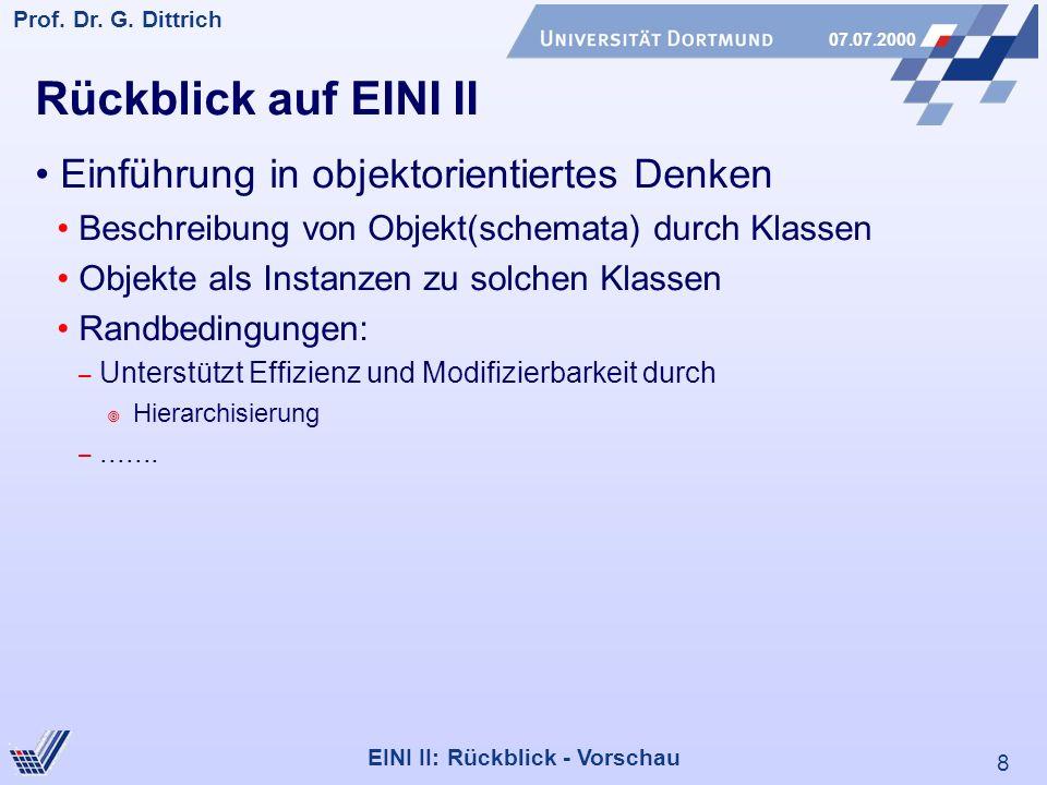 Rückblick auf EINI II Einführung in objektorientiertes Denken