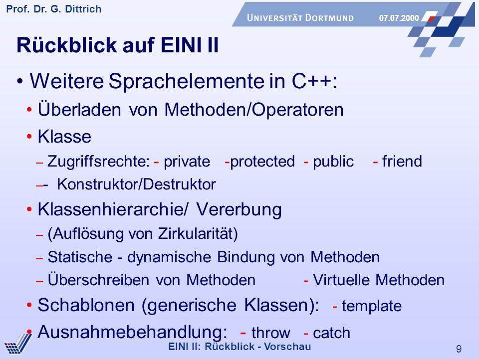 Weitere Sprachelemente in C++:
