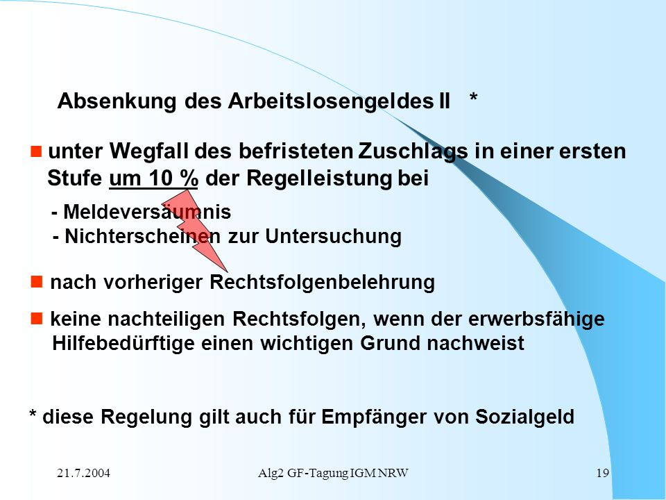 Absenkung des Arbeitslosengeldes II *