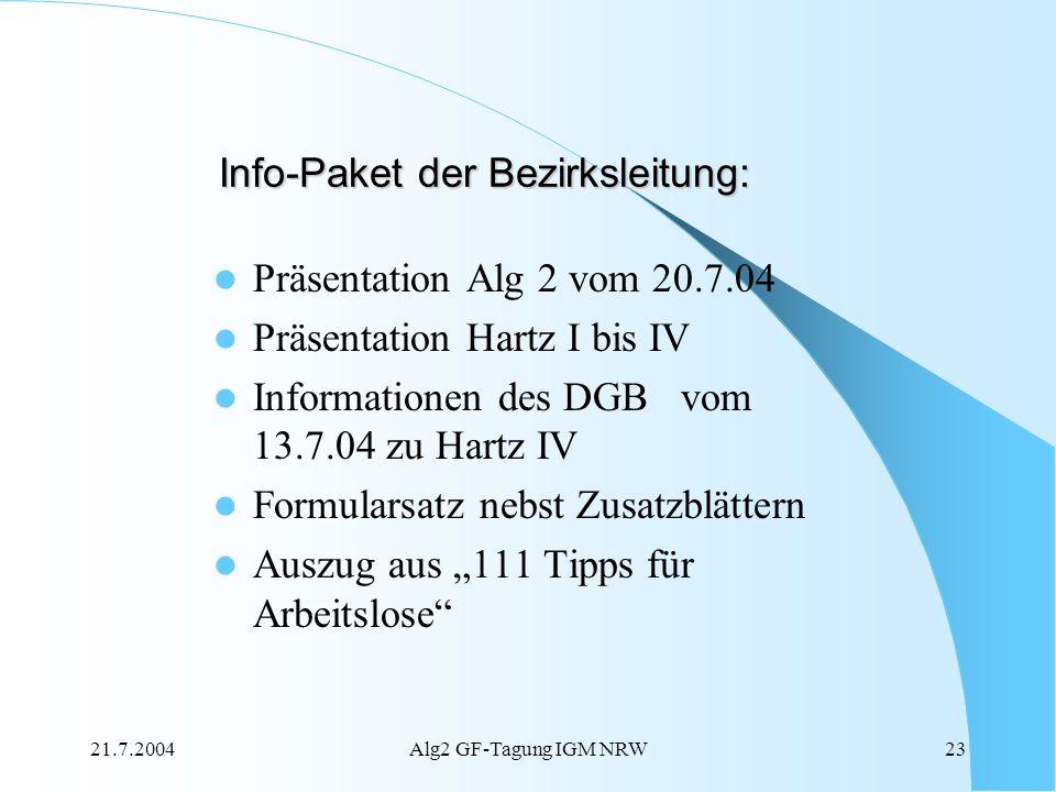 Info-Paket der Bezirksleitung: