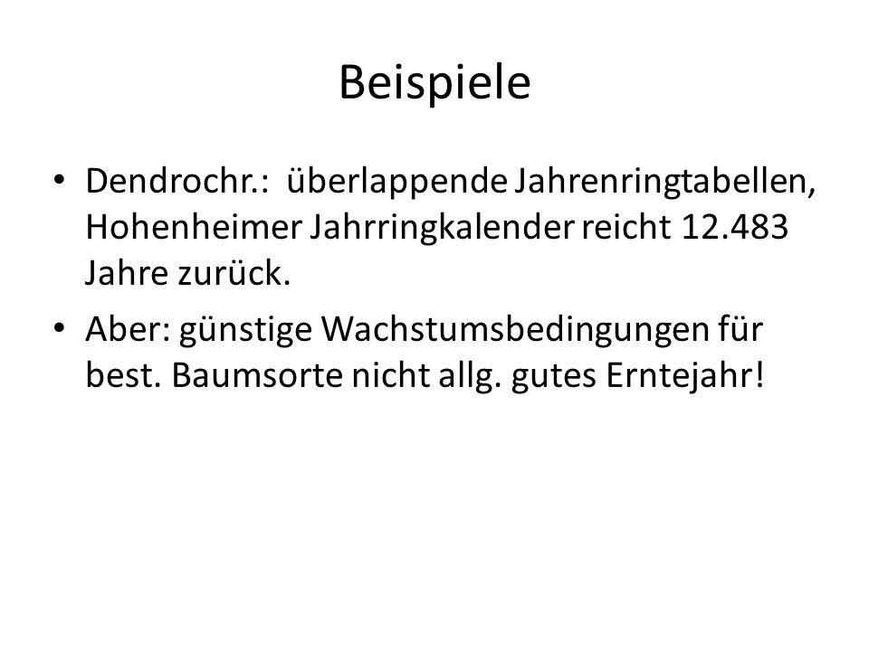 Beispiele Dendrochr.: überlappende Jahrenringtabellen, Hohenheimer Jahrringkalender reicht 12.483 Jahre zurück.