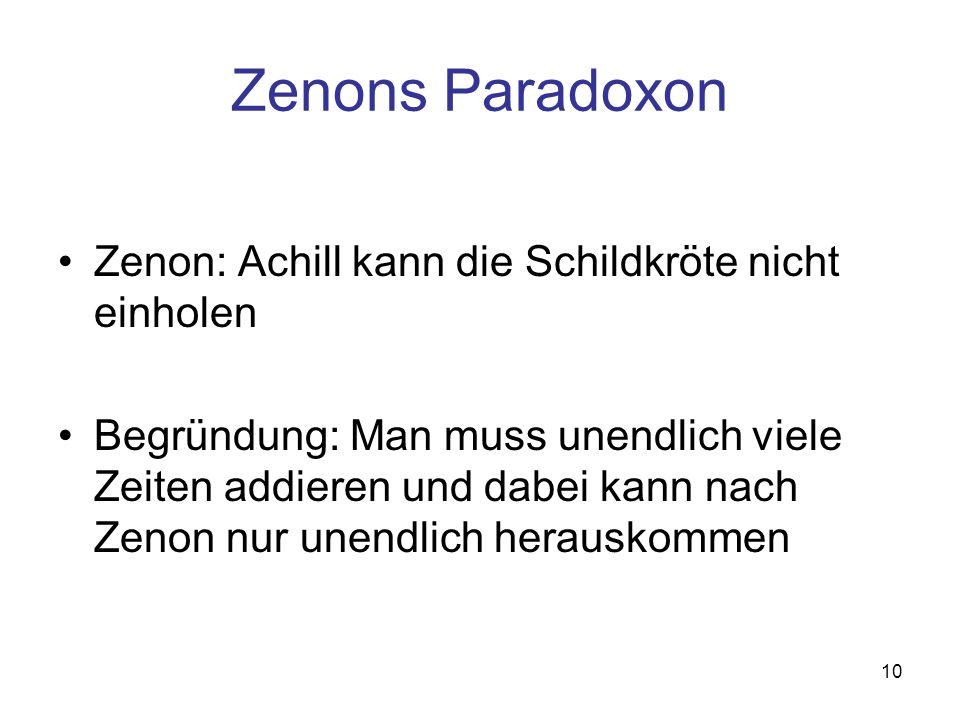 Zenons Paradoxon Zenon: Achill kann die Schildkröte nicht einholen
