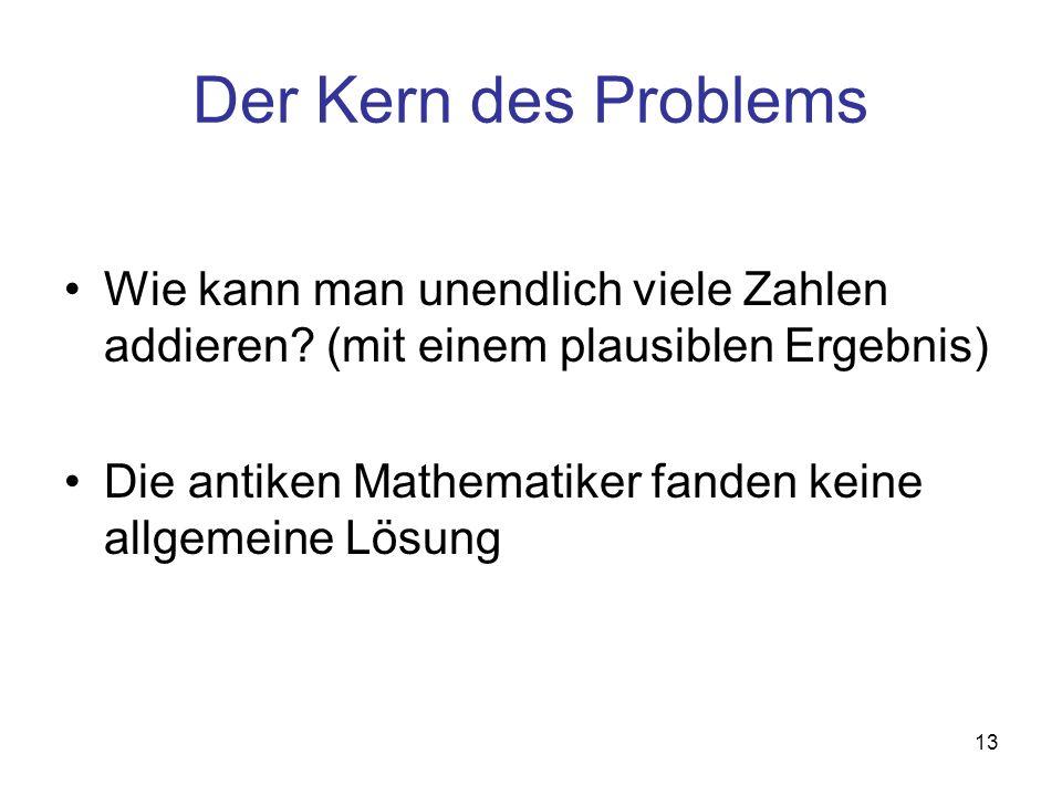 Der Kern des Problems Wie kann man unendlich viele Zahlen addieren (mit einem plausiblen Ergebnis)