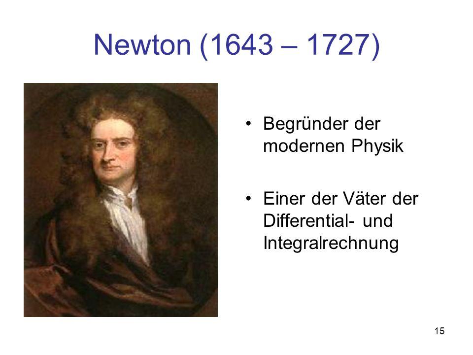 Newton (1643 – 1727) Begründer der modernen Physik