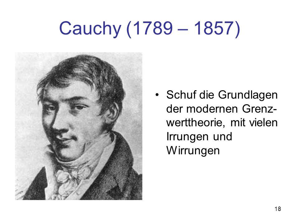 Cauchy (1789 – 1857) Schuf die Grundlagen der modernen Grenz-werttheorie, mit vielen Irrungen und Wirrungen.