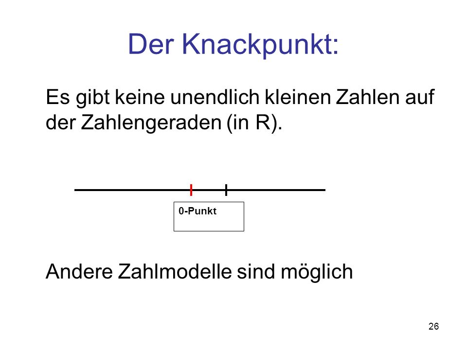 Der Knackpunkt: Es gibt keine unendlich kleinen Zahlen auf der Zahlengeraden (in R). Andere Zahlmodelle sind möglich.