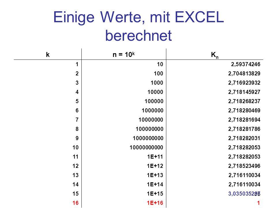 Einige Werte, mit EXCEL berechnet
