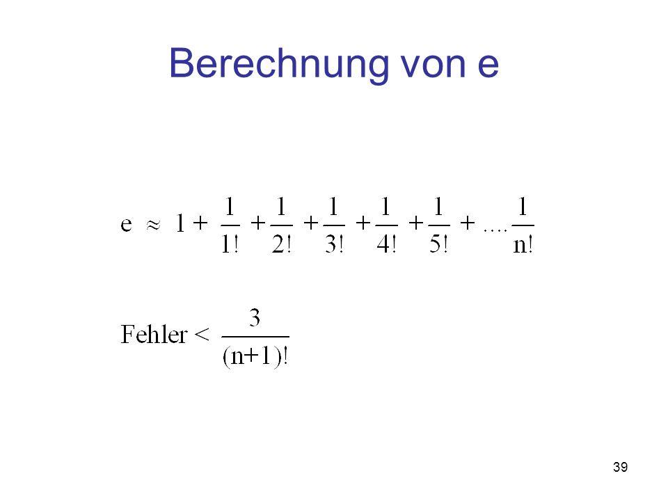Berechnung von e