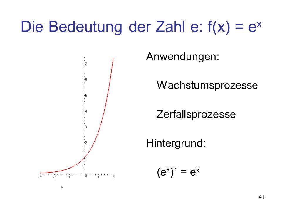 Die Bedeutung der Zahl e: f(x) = ex