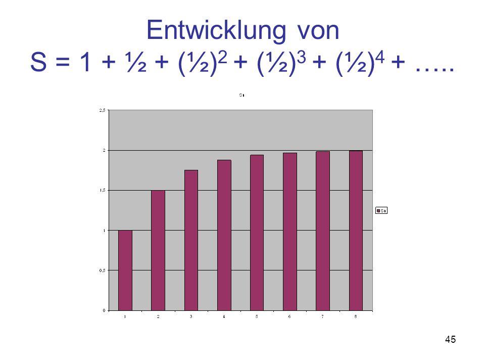 Entwicklung von S = 1 + ½ + (½)2 + (½)3 + (½)4 + …..