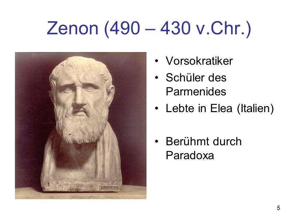 Zenon (490 – 430 v.Chr.) Vorsokratiker Schüler des Parmenides