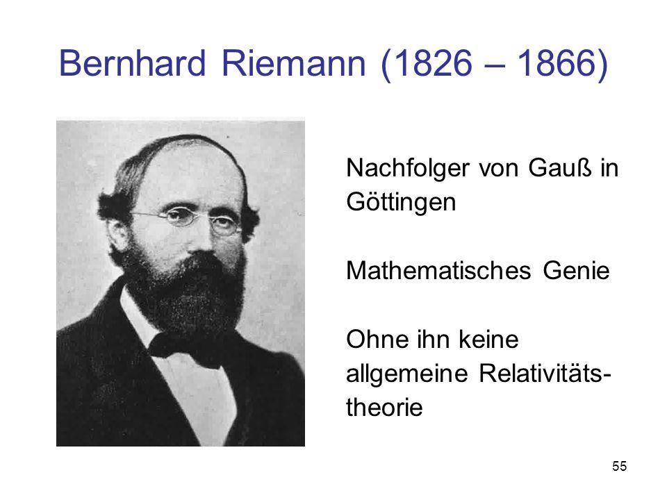 Bernhard Riemann (1826 – 1866) Nachfolger von Gauß in Göttingen