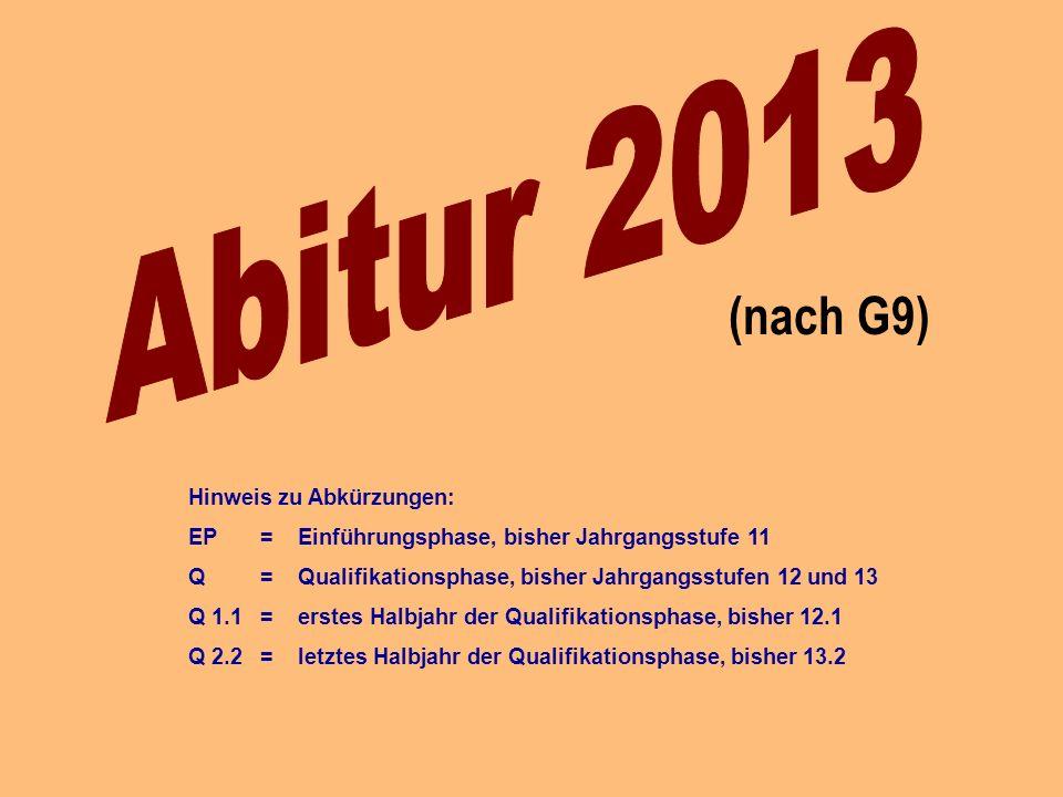 Abitur 2013 (nach G9) Hinweis zu Abkürzungen: