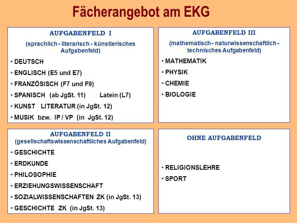 Fächerangebot am EKG AUFGABENFELD I DEUTSCH ENGLISCH (E5 und E7)