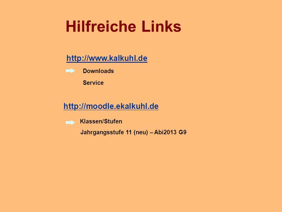 Hilfreiche Links http://www.kalkuhl.de http://moodle.ekalkuhl.de
