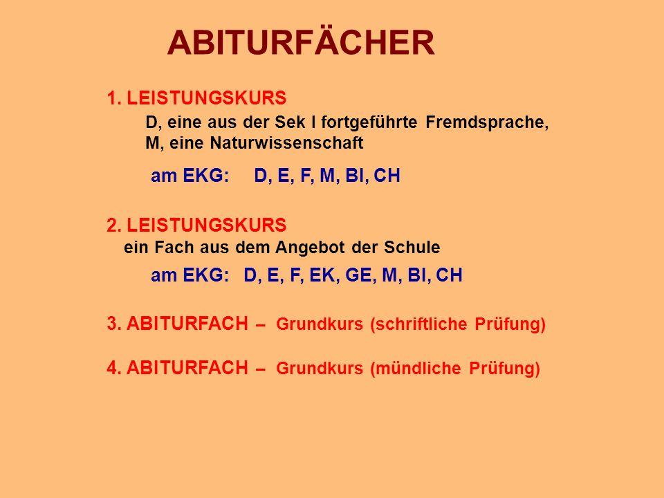 ABITURFÄCHER 1. LEISTUNGSKURS am EKG: D, E, F, M, BI, CH
