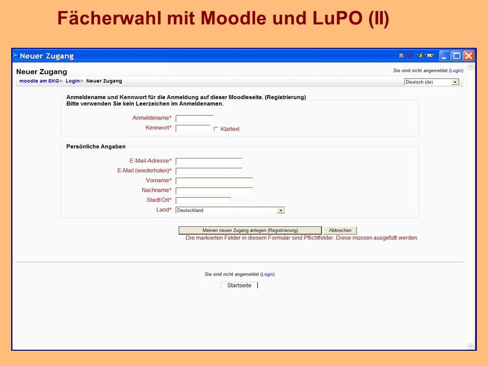 Fächerwahl mit Moodle und LuPO (II)