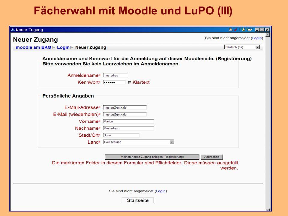 Fächerwahl mit Moodle und LuPO (III)
